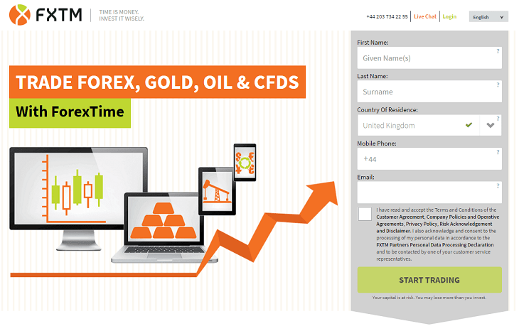 fxtm broker account registration trade forex gold oil cfd with forextime