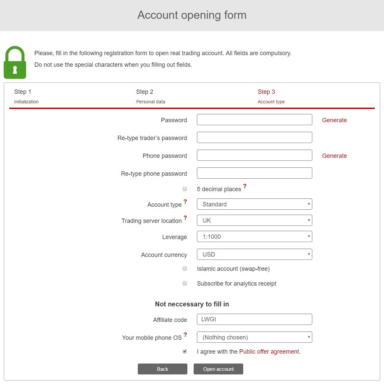InstaForex form